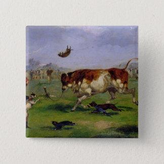Stier-Anlockung (Öl auf dem Papier gelegt auf Quadratischer Button 5,1 Cm