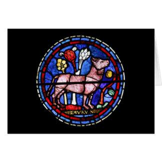Stier-Astrologie-Buntglas Windows - Gruß Karte