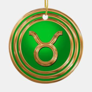 Stier-astrologisches Zeichen Rundes Keramik Ornament