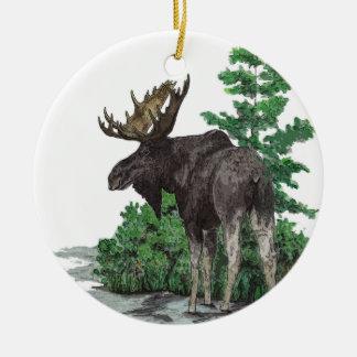 Stier-Elche art.2 versahen mit Seiten Rundes Keramik Ornament