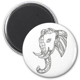Stier-Elefant-Kopf-Gekritzel-Kunst Runder Magnet 5,7 Cm