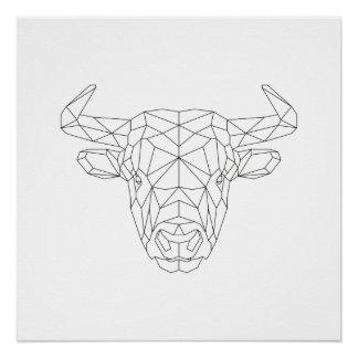 Stier-geometrischer schwarzer u. weißer perfektes poster