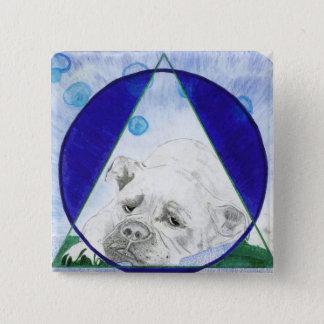 Stier-Hundeknopf Quadratischer Button 5,1 Cm