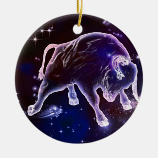 Stier im Astrolook Rundes Keramik Ornament