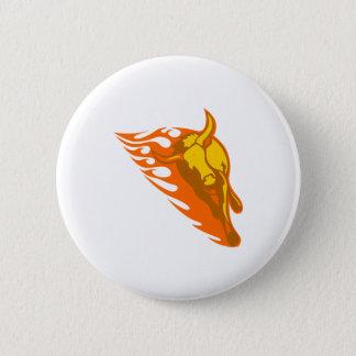 Stier in den Flammen Runder Button 5,1 Cm