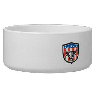 Stier-Kuh-Kopf USA-Flaggen-Wappen-niedriges Napf