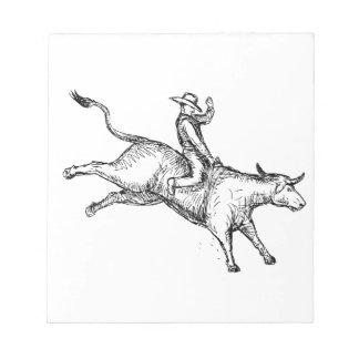 Stier-Reitrodeo-Cowboy-Zeichnen Notizblock