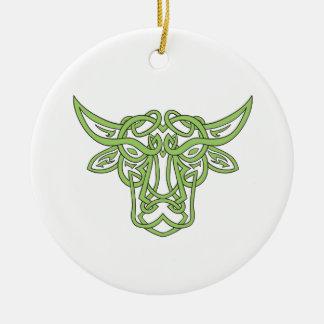 Stier-Stierceltic-Knoten Rundes Keramik Ornament