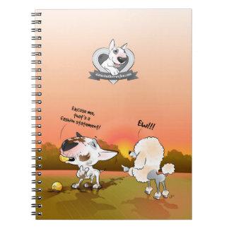 """Stier-Terrier-Cartoon-Notizbuch """"Mode-Aussage """" Notizblock"""