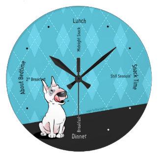 Stier-Terrier-Cartoon-Wand-Uhr Große Wanduhr