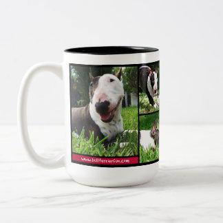 """Stier-Terrier-""""LiveLiebe-Lachen"""" Foto-Tasse Zweifarbige Tasse"""