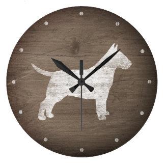 Stier-Terrier-Silhouette-rustikale Art Große Wanduhr