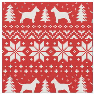 Stier-Terrier-Silhouette-Weihnachtsmuster-Rot Stoff