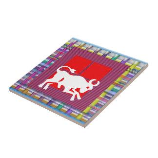 STIER Tierkreis-Astrologie Jyotish Symbole Kleine Quadratische Fliese