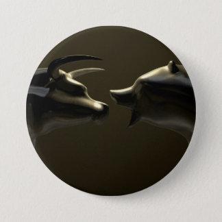 Stier- und Baissemarkt-Trend-Bronze-Castings Runder Button 7,6 Cm