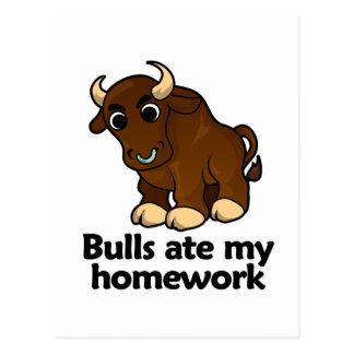 Stiere aßen meine Hausaufgaben Postkarte