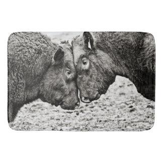 Stiere, die Kopf-Foto-Bad-Matte stoßen Badematte