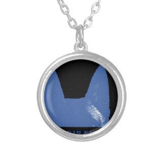 STIFT Blau auf Schwarzem Versilberte Kette