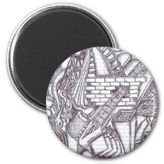 Stift-Gekritzel-Muster Runder Magnet 5,7 Cm