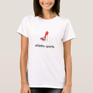 Stilett trägt roten Bügelbehälter zur Schau T-Shirt