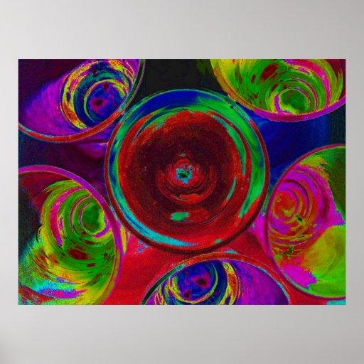 Stilisierte farbige Cocktail-Schnapsglas Posterdrucke