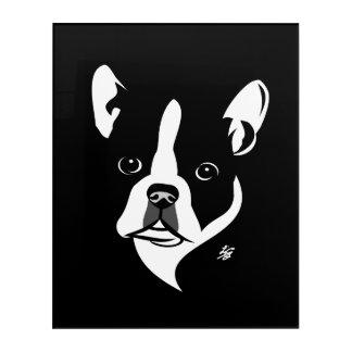 Stilisierte Hundekunst Bostons Terrier Acryl Wandkunst