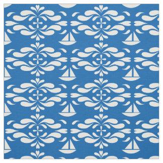 Stilisierte Segelboote auf wirbelnden Meeren Stoff