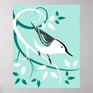 Stilisierte weiße Breasted Kleiber-Kunst Poster