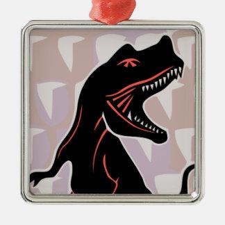 Stilisierter Tyrannosaurus Silbernes Ornament