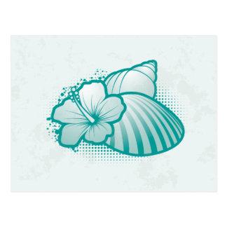 Stilisiertes Blau der Seashells 4 Postkarte
