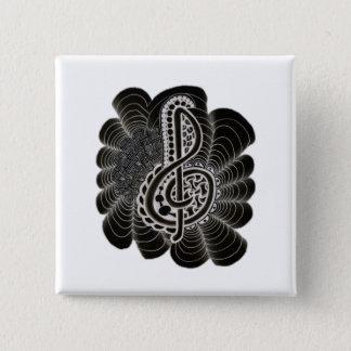 Stilisiertes Weiß auf schwarzem dreifacher Quadratischer Button 5,1 Cm