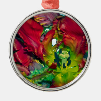 Still life with Red Tulips Rundes Silberfarbenes Ornament