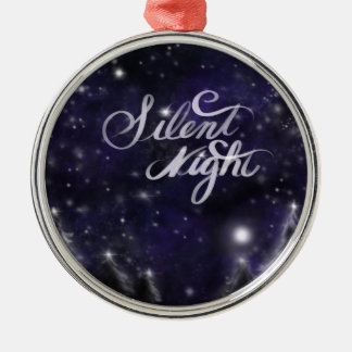 Stille Nacht - romantische Feiertagsschneeszene Silbernes Ornament