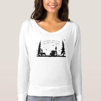 Stille Nachtkirche in Schnee Weg-Schulter Spitze T-shirt