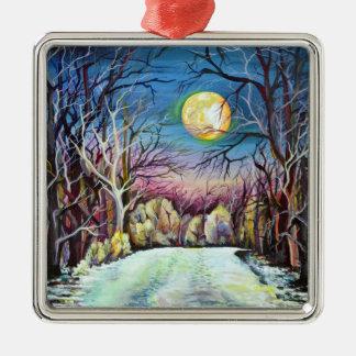 Stiller Nachtwinter-Vollmond in Schweden Quadratisches Silberfarbenes Ornament