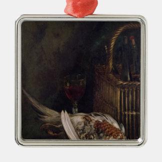 Stillleben Claude Monets | mit einem Fasan, c.1861 Quadratisches Silberfarbenes Ornament