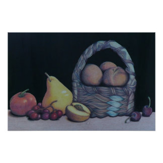 Stillleben der Frucht und des Korb-Druckes Poster