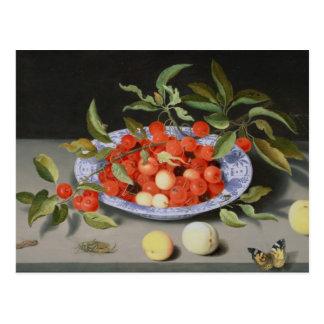 Stillleben der Kirschen und der Pfirsiche Postkarte