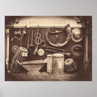 Stillleben der Musikinstrumente Poster