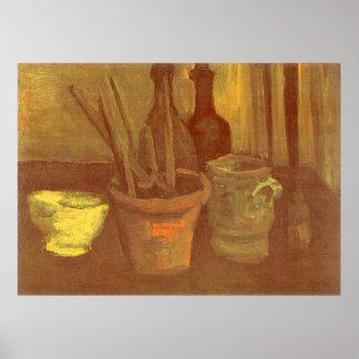 Stillleben-Malerpinsel in einem Topf Vincent van Poster