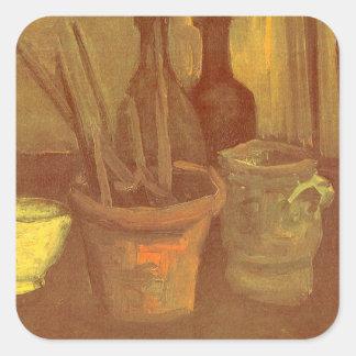 Stillleben-Malerpinsel in einem Topf Vincent van Quadratischer Aufkleber