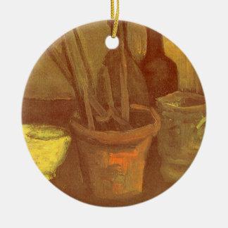 Stillleben-Malerpinsel in einem Topf Vincent van Rundes Keramik Ornament