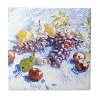 Stillleben mit Äpfeln, Birnen, Trauben - Van Gogh Fliese