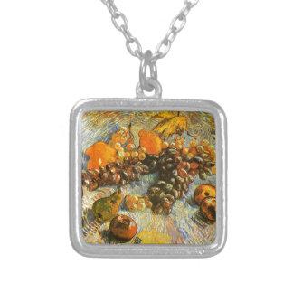 Stillleben mit Äpfeln, Birnen, Trauben - Van Gogh Versilberte Kette