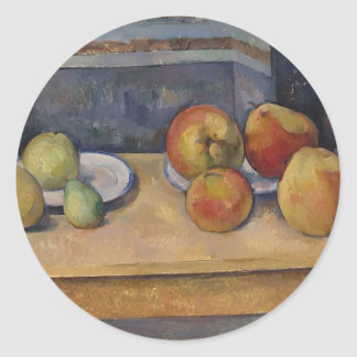 Stillleben mit Äpfeln und Birnen Runder Aufkleber