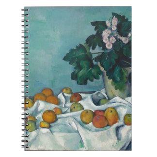 Stillleben mit Äpfeln und einem Topf Primeln Spiral Notizblock