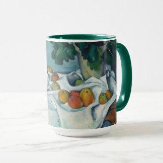 Stillleben mit Äpfeln und einem Topf Primeln Tasse