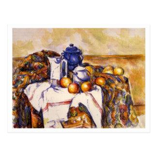 Stillleben mit blauem Topf durch Paul Cezanne Postkarte