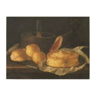 Stillleben mit Brot-Törtchen und Schinken, Holzwanddeko