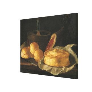 Stillleben mit Brot-Törtchen und Schinken, Leinwanddruck